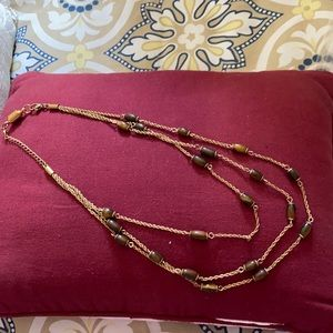 Brown and gold costume jewelry necklace